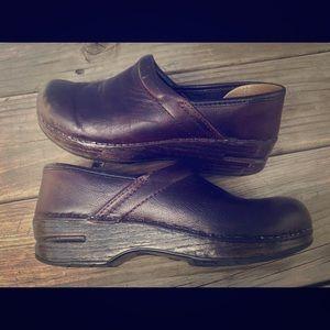 Dansko brown leather slip on clog size 35